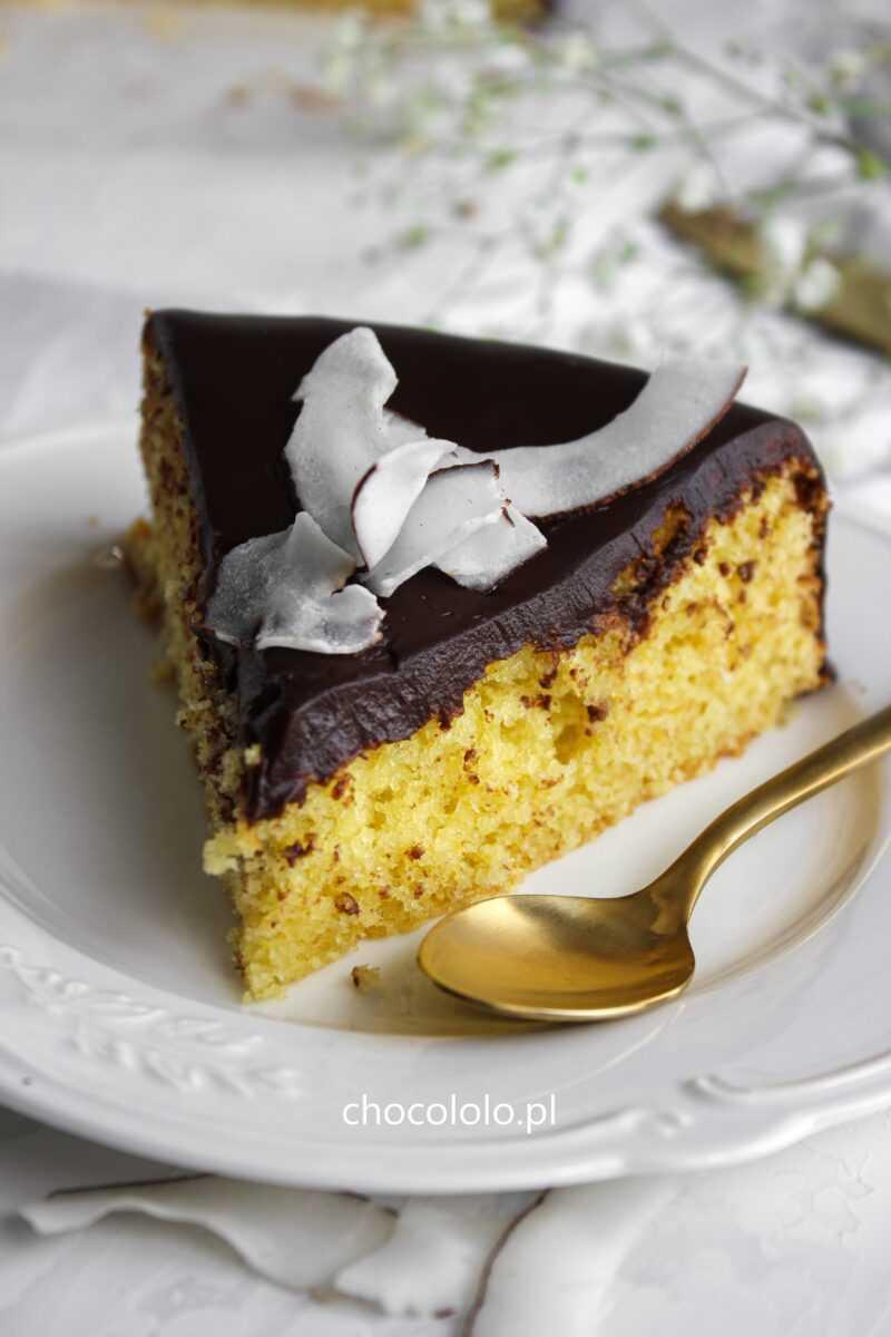ciasto kokosowe z polewą czekoladową